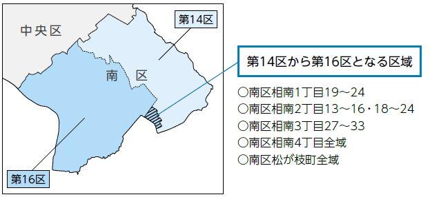 第14区から第16区となる区域